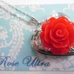 Bright Red Vintage Rose Heart Silve..
