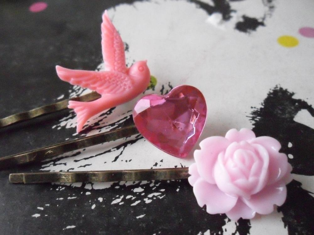 Candy Pink Swallow Bobby Pin Set - bronze hair clips slides pins grips heart vintage