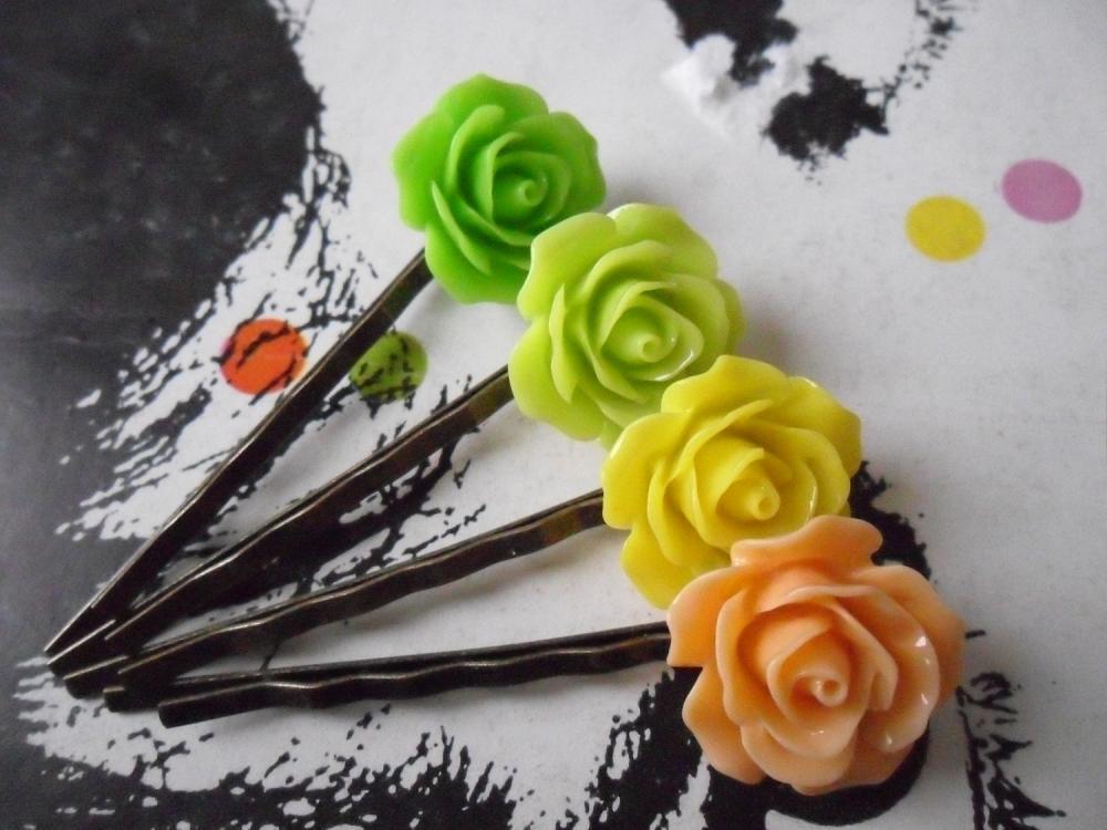 Citrus Coloured Vintage Rose Bobby Pins - bronze hair clips slides pins grips green rose
