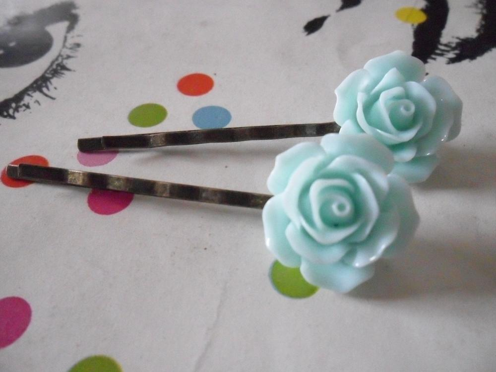 A Pair of Light Aquamarine Blue Vintage Rose Bronze Bobby Pins - hair clips slides pins flower
