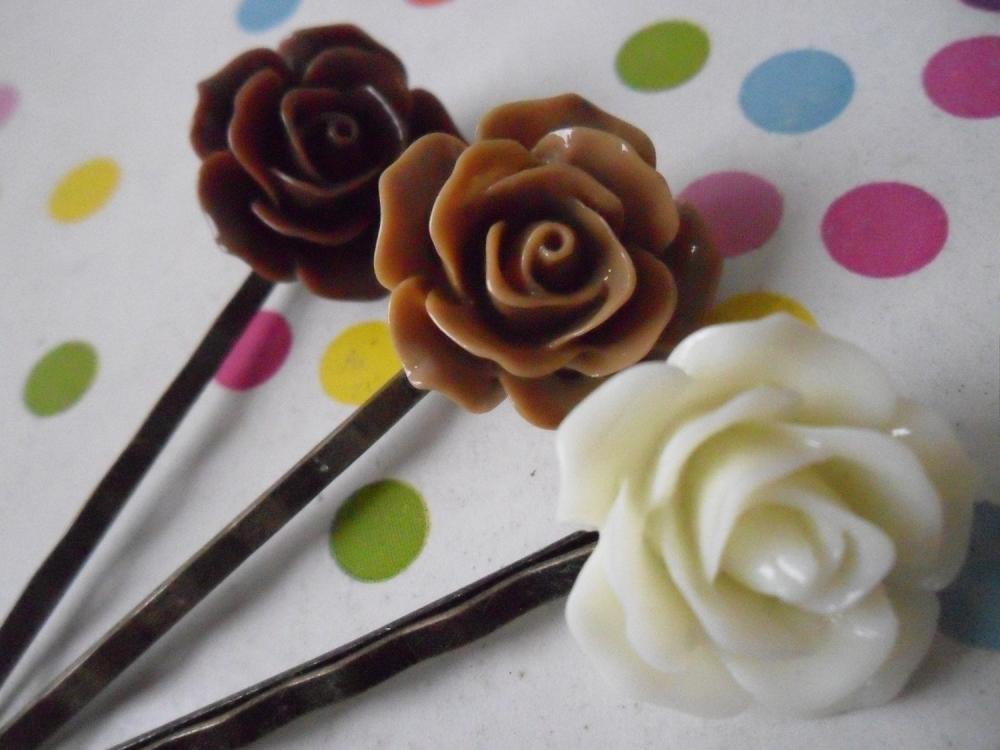 Triple Chocolate Vintage Rose Bobby Pins - bronze hair clips slides pins grips brown cream rose