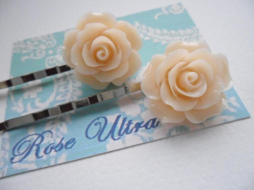 A Pair of Peaches and Cream Vintage Rose Silver Bobby Pins - hair clips slides pins flower