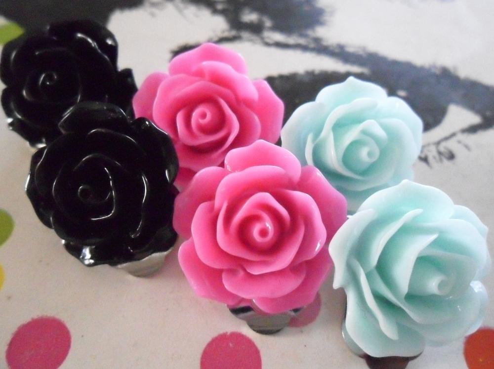 Black Aqua and Pink Vintage Resin Rose CLIP ON earrings FLOWER clip-ons set