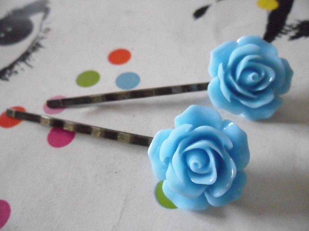A Pair of Cornflower Blue Vintage Rose Bronze Bobby Pins - hair clips slides pins flower