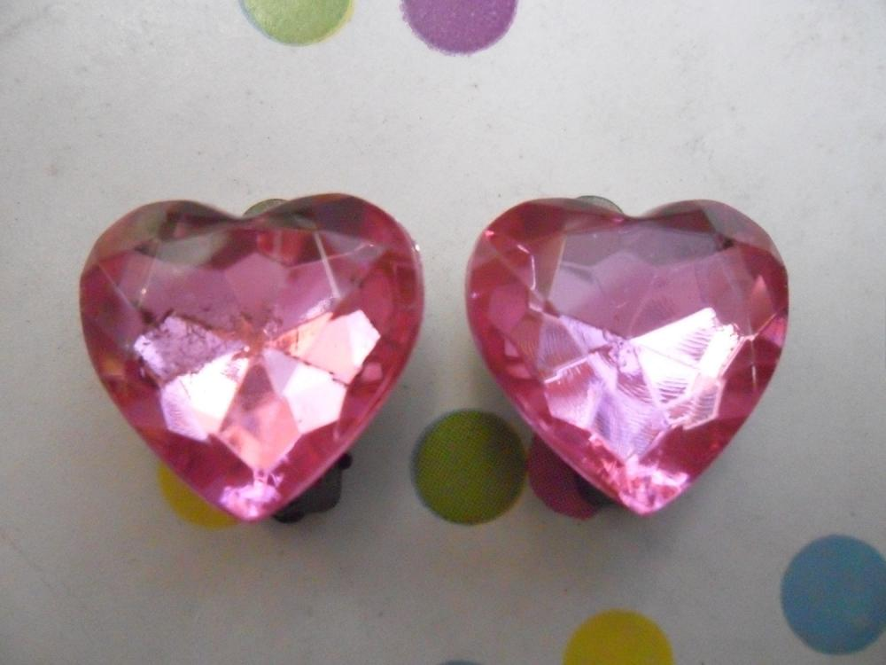 CLIP ON Candy Pink Sparkly Vintage Jewel Heart Earrings Clip-ons non-pierced