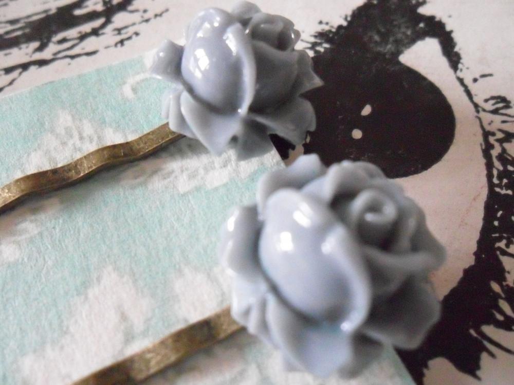 A Pair of Smoky Grey Vintage Rosebud Bronze Bobby Pins - hair clips slides pins flower gray