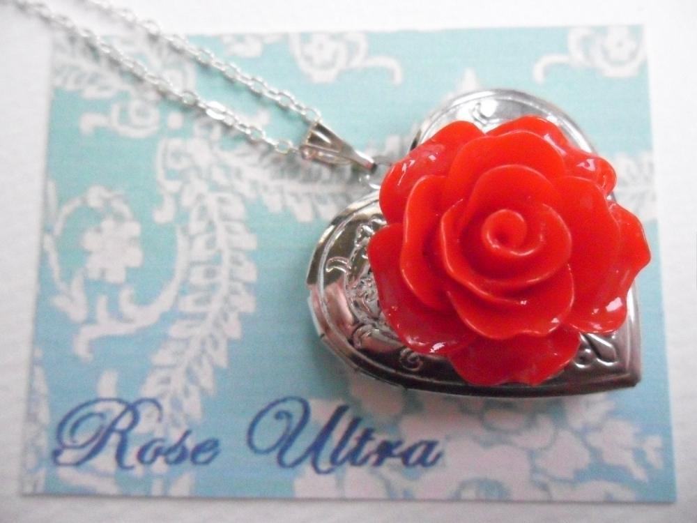 Bright Red Vintage Rose Heart Silver Locket