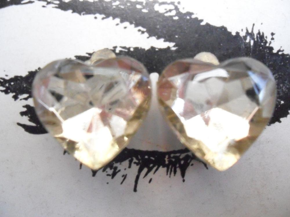 CLIP ON Champagne Golden Sparkly Vintage Jewel Heart Earrings Clip-ons non-pierced
