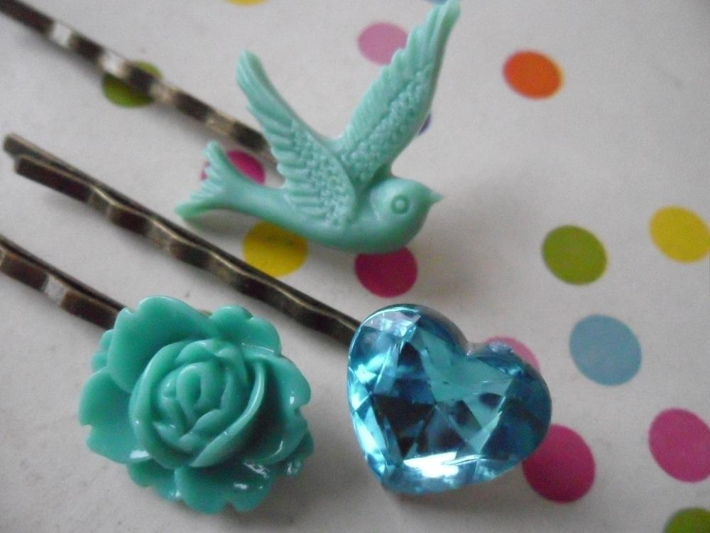 Sea Green and Teal Swallow Bobby Pin Set - bronze hair clips slides pins grips heart vintage
