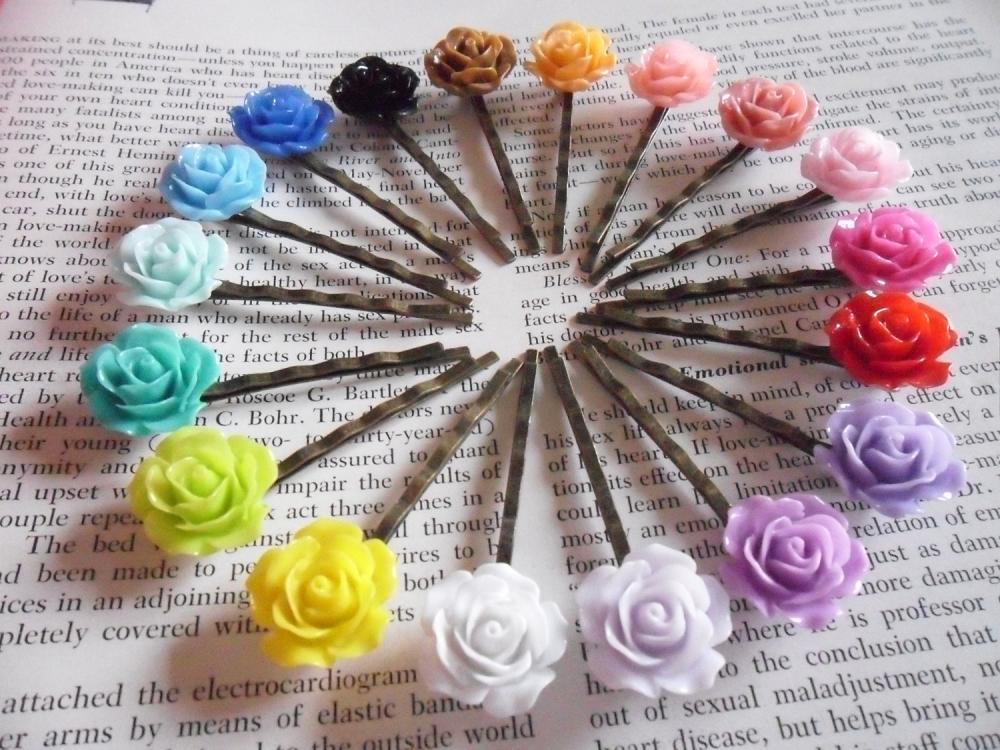 18 Colours 1 of Each Vintage Rose Bronze Bobby Pin Set - hair clips slides pins flower