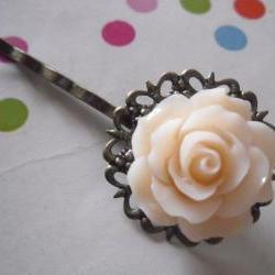 Cream Vintage Rose and Bronze Filigree Lace Bobby Pin - bronze hair clip slide pins grip