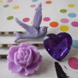 Lilac Ultraviolet Swallow Bobby Pin Set - bronze hair clips slides pins grips heart vintage