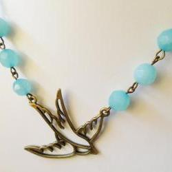 Bronze Swallow Necklace with Aqua Jade Rockabilly Retro Pin up Tattoo Bird Vintage Burlesque Bridesmaid