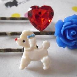 Tricolore French Poodle Bobby Pins - bronze hair clips slides pins grips heart rose