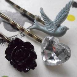 Monochrome Swallow Bobby Pin Set - bronze hair clips slides pins grips heart vintage