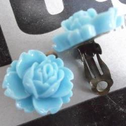 CLIP ON Cornflower Blue Vintage Resin Peony Earrings FLOWER clip-ons non-pierced