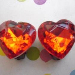 CLIP ON Blood Red Sparkly Vintage Jewel Heart Earrings Clip-ons non-pierced