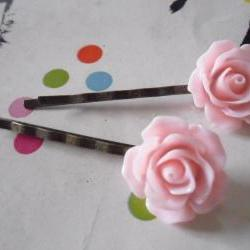 A Pair of Baby Pink Vintage Rose Bronze Bobby Pins - hair clips slides pins flower