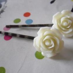 Rose Bobby Pins in Lemon Chiffon and Antique Bronze - vintage style hair clips slides pins rockabilly flower