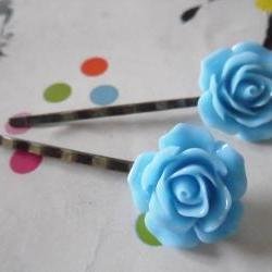 A Pair of Cornflower Blue Vintage Rose Bronze Bobby Pins - hair clips slides pins flower