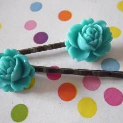A Pair of Teal Green Vintage Peony Antique Bronze Bobby Pins - hair clips slides pins flower