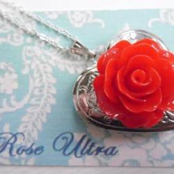Bright Red Vintage Rose Heart Silver Locket