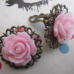 CLIP ON Baby Pink Filigree Lace Vintage Resin Rose Earrings Flower clip-ons ear clips non pierced